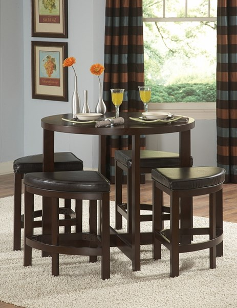 Brussel II Warm Brown Cherry Wood 5pc Counter Height Set HE-3292-36