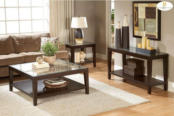 Vincent Espresso Wood Glass Insert Coffee Table Set HE-3299OT