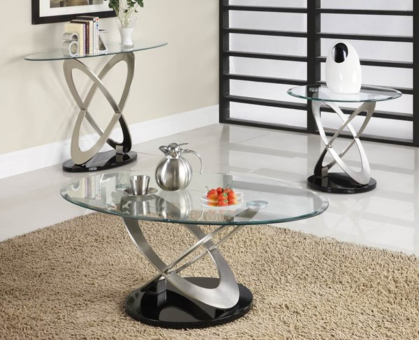 Firth Black Silver Metal Glass Top 3pc Coffee Table Set HE-3401OT-s1