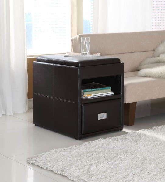 Carbon Dark Brown Vinyl Reversable Tray Top Chair Side Table HE-457PU