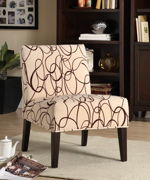 Lifestyle Cherry Cream Wood Fabric Accent Chair HE-468F3S