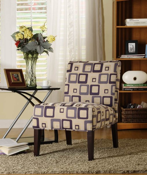Lifestyle Cherry Wood Blue Geometric Fabric Accent Chair HE-468F4S