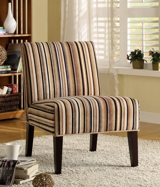 Lifestyle Black Ivory Brown Wood Stripe Fabric Accent Chair HE-468F7S