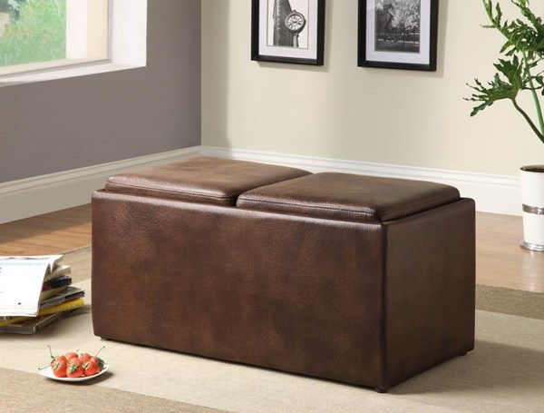 Claire Contemporary Brown Fabric Wood Bench w/2 Ottomans & Trays HE-469NF
