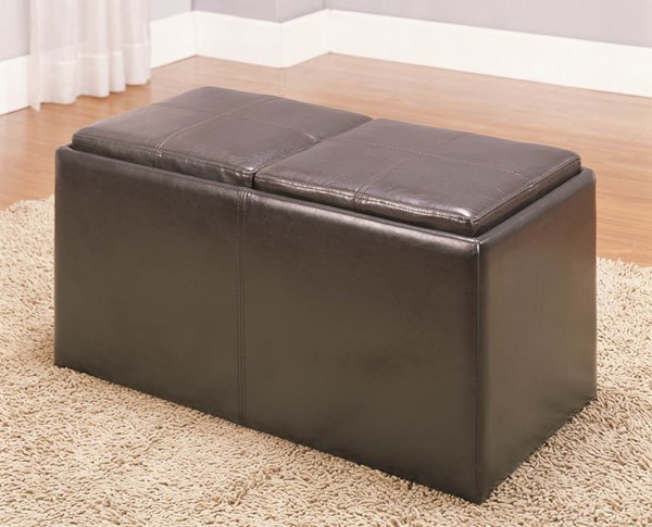Claire Contemporary Dark Brown Vinyl Wood Bench w/2 Ottomans & Trays HE-469PU
