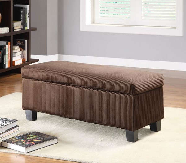 Clair Rich Chocolate Corduroy Wood Lift Top Storage Bench HE-471NF