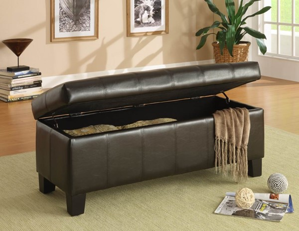 Home Elegance Clair Brown Lift Top Storage Bench HE-471PU