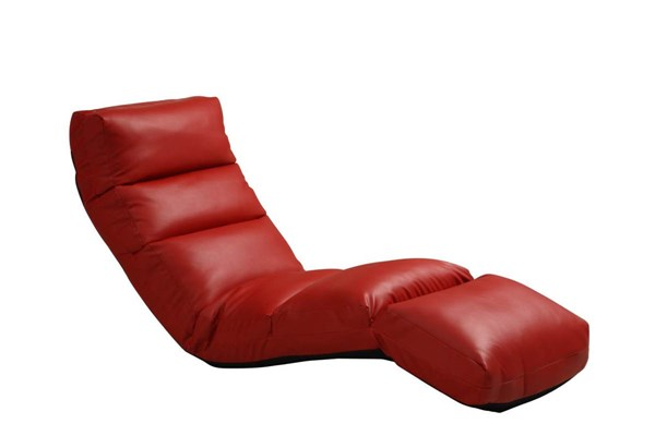 Gamer Contemporary Red Vinyl Floor Lounge Chair HE-4726RD