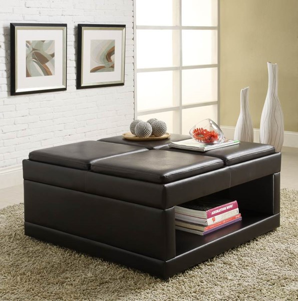 Fleming Dark Brown Wood Cocktail Ottoman Table Flip Trays W/Casters HE-4732PU