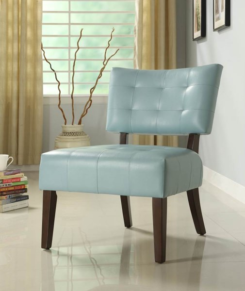 Warner Contemporary Sky Blue Wood Vinyl Accent Chair HE-489BL
