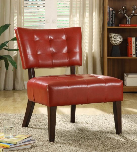 Warner Contemporary Red Wood Vinyl Accent Chair HE-489RD