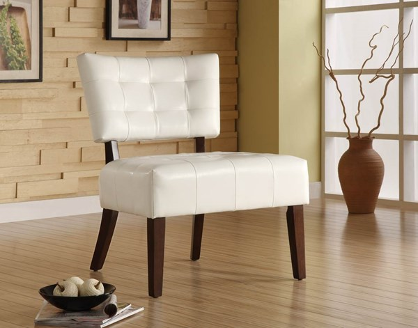 Warner Contemporary White Wood Vinyl Accent Chair HE-489WT