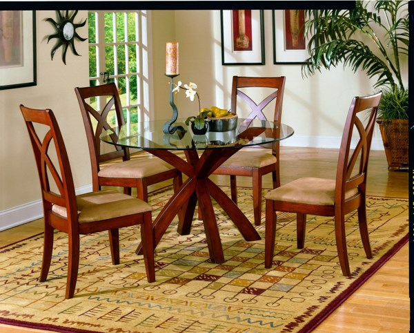 Star Hill Cherry Wood Glass Round Dining Table HE-5316