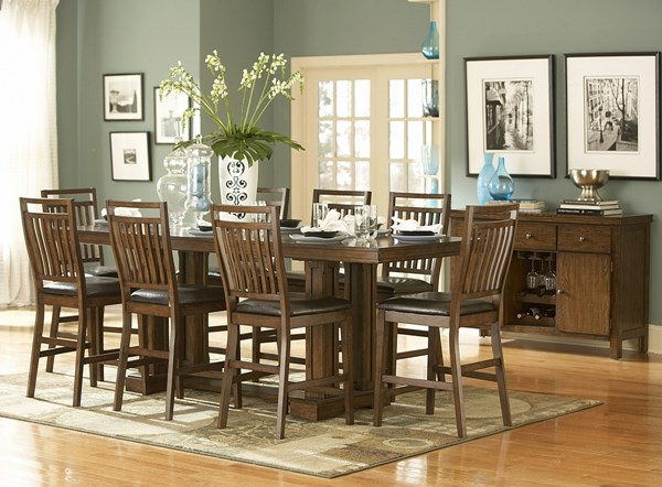 Everett Cherry Oak Wood Upholstered Fabric Bar Set HE-5381BAR