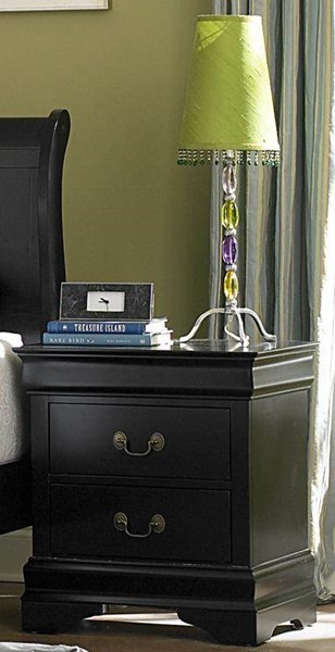 Marianne Casual Black Wood Metal Night Stand HE-539BK-4