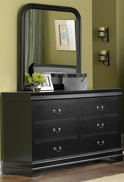 Marianne Casual Black Wood Metal Glass Dresser & Mirror HE-539BK-5-HE-539BK-6