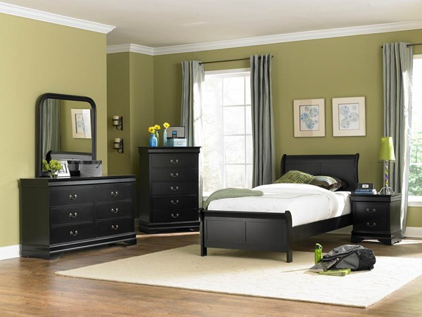 Marianne Casual Black Wood Metal Glass 5pc Kids Bedroom Sets HE-539BK-Y-sets