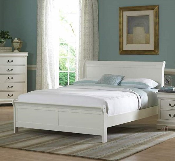 Marianne Casual White Wood Beds W/Sleigh HE-539W-beds