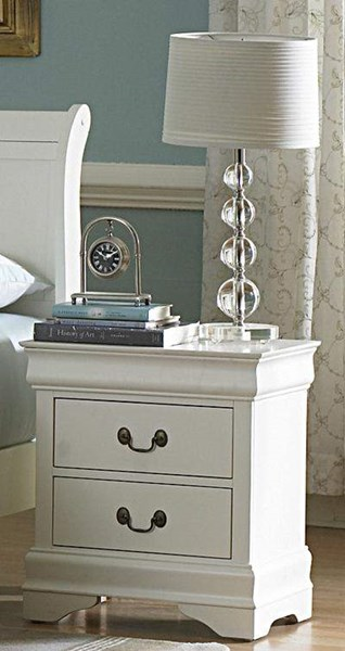 Marianne Casual White Wood Metal Night Stand HE-539W-4