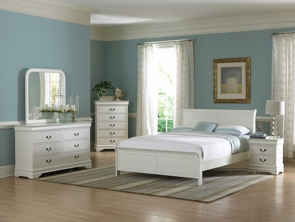 Marianne Casual White Wood Metal Glass 5pc Bedroom Set w/Full Bed HE-539W-Y-set3