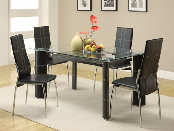Wilner Contemporary Black Metal PVC Glass Dining Room Set HE-5445DT
