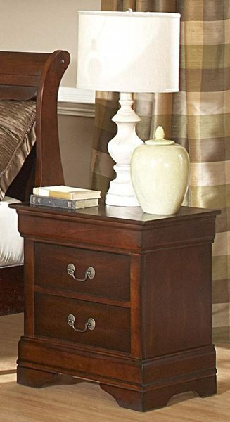 Chateau Traditional Warm Distressed Cherry Wood 2 Drawers Night Stand HE-549-4