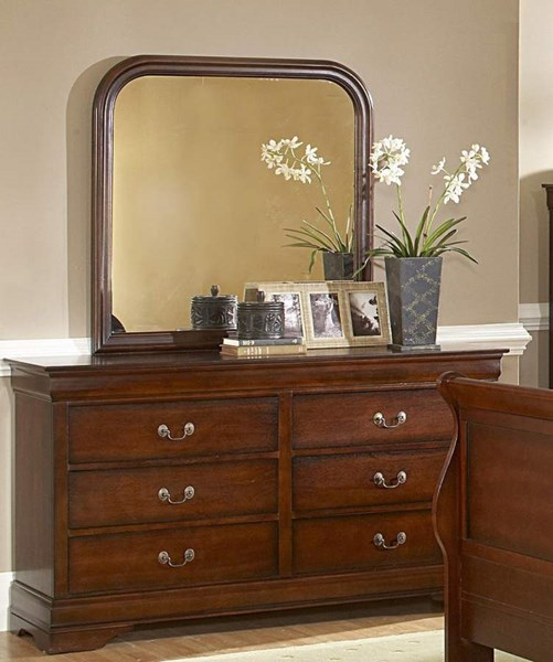 Chateau Traditional Distressed Cherry Wood Square Mirror HE-549-6