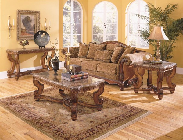 Tarantula Brown Cherry Wood Marble Top 3pc Coffee Table Set HE-5543OT-s1