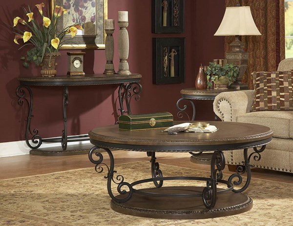 Harman Heights Traditional Warm Brown Wood Metal Round End Table HE-5552-04
