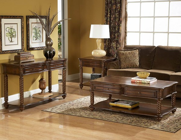 Trammel Brown Mahogany Wood Functional Drawers 4pc Coffee Table Set HE-5554OT-s2