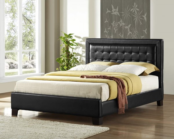 Landon Collecton Dark Brown Wood Vinyl Queen Platform Bed HE-5787-1