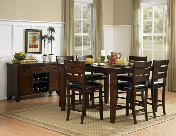 Ameillia Dark Oak Wood Square Counter Height Table HE-586-36