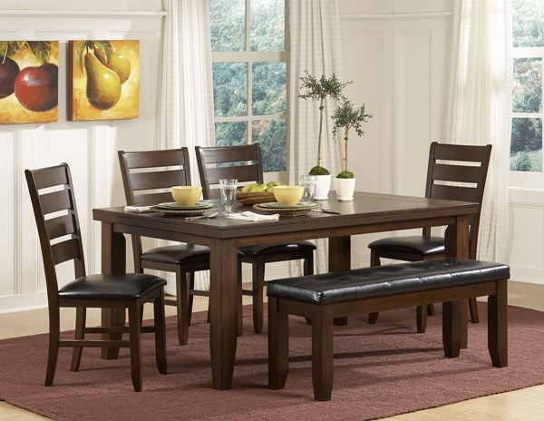 Ameillia Grey Brown Dark Oak Wood Birch Vaneer 5pc Dining Room Set HE-586-set