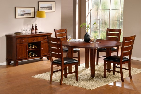 Ameillia Grey Brown Undertone Wood Vinyl Dining Room Set HE-586DT
