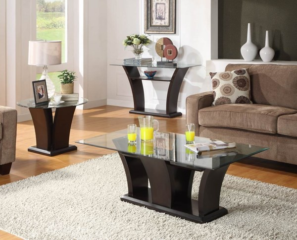 Daisy Espresso Wood Glass Top 3pc Coffee Table Set HE-710OT-s1