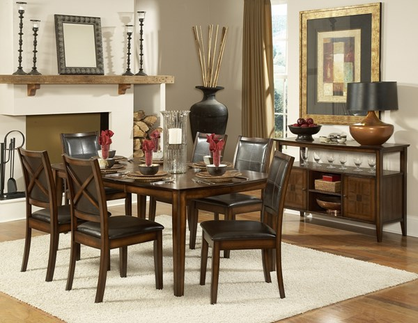 Verona Distressed Amber Chocolate Wood Vinyl 5pc Dining Room Set HE-727-72-set