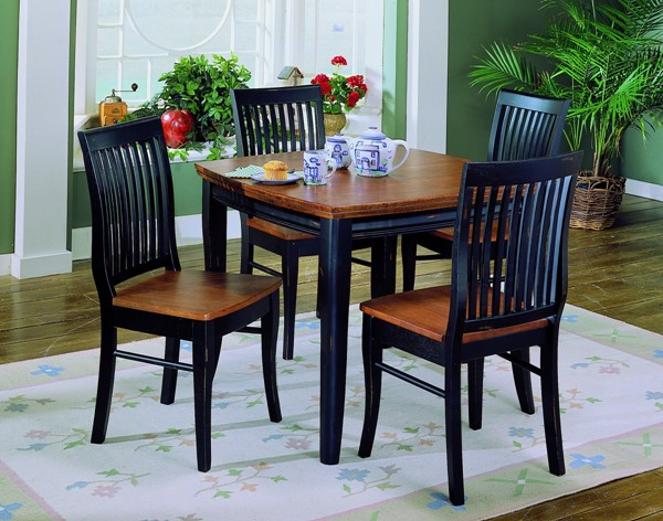 Liz Antique Black Warm Cherry 2 Tone Wood Dining Table HE-764