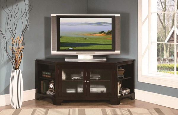 Sloan Warm Espresso Hardwood Veneer Glass TV Stand HE-8049-T