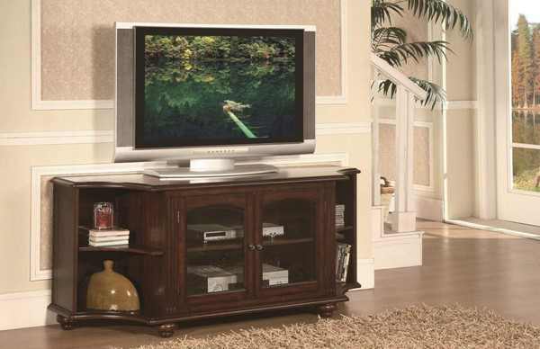 Piedmont Classic Warm Brown Cherry Wood Glass TV Stand HE-8059-T