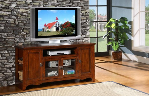 Carla Transitional Cherry Wood Glass TV Stand HE-8060-T
