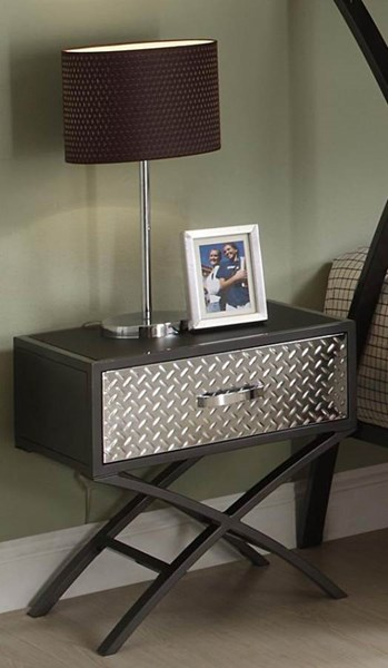 Spaced Out Classic Chrome Grey Metal Night Stand HE-813-4