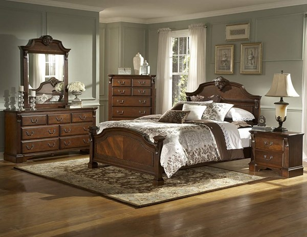 Legacy Brown Cherry Wood Metal Glass Master Bedroom Set HE-866