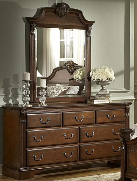 Legacy Brown Cherry Wood Metal Glass Dresser And Mirror HE-866NC-5-HE-866NC-6
