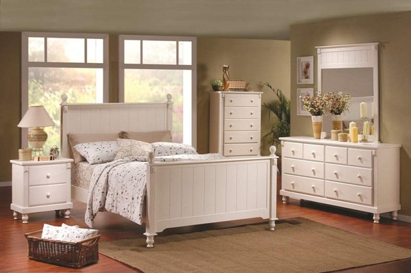 Pottery Old World White Wood Glass 2pc Kids Bedroom Sets HE-875W-Y-sets