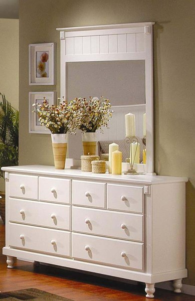 Pottery Old World White Wood Drawer Dresser HE-875W-5