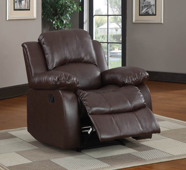 Cranley Brown Wood Bonded Leather Recliner HE-9700BRW-1