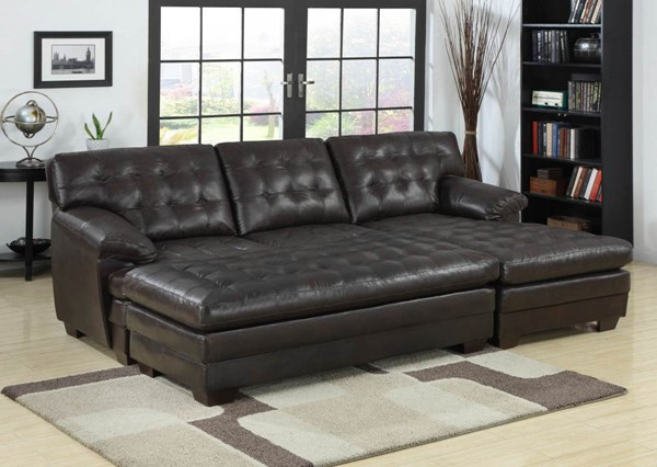 Brooks Rich Dark Brown Bonded Leather Wood Ottoman HE-9739-4