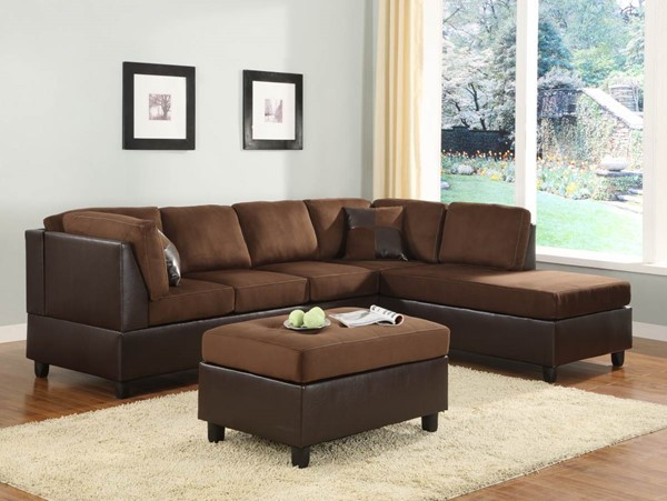 Comfort Living Contemporary Chocolate Vinyl Fabric Reversible Chaise HE-9909CH-5