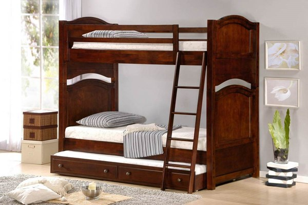 Aris Classic Warm Brown Cherry Wood Twin/Twin Trundle Bunk Bed HE-B1422-1-B1422-R