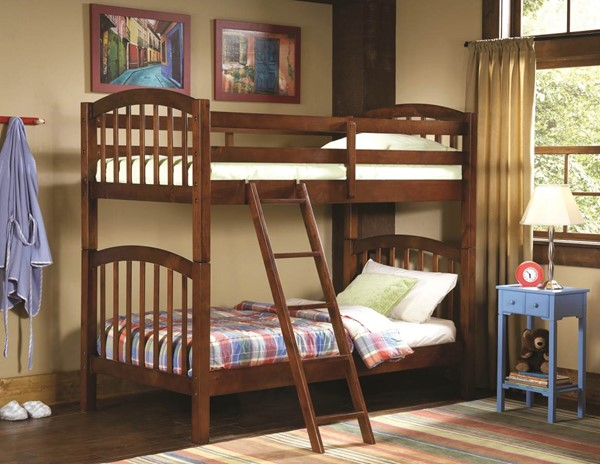 The Michael Transitional Rich Brown Wood Bunk Bed HE-B29-1